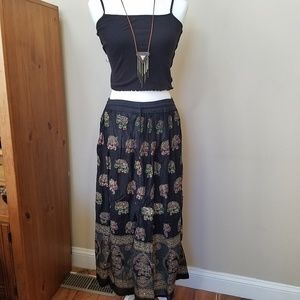 Dresses & Skirts - Boho Maxi Skirt With Embroidered Elephants